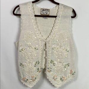 Vintage Heirloom Collectibles white knit vest Lg